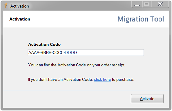Online activation, step 1